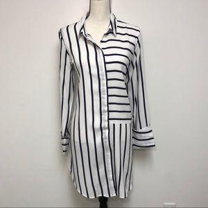 Cupio White Striped Lightweight Shirt Dress Large